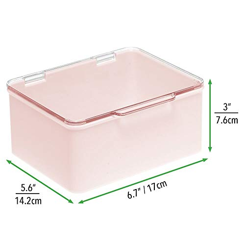 mDesign Juego de 4 organizadores de juguetes con tapa – Juguetero apilable de plástico robusto – Caja de almacenaje para guardar juguetes en la habitación infantil – transparente y rosa claro