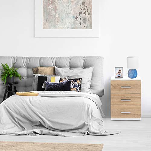 COMIFORT Mesa de Noche - Mesita Auxiliar para el Dormitorio de Estilo Nórdico, Moderna y Minimalista, con 3 Espaciosos Cajones, Muy Resistente, de Color Blanco y Roble