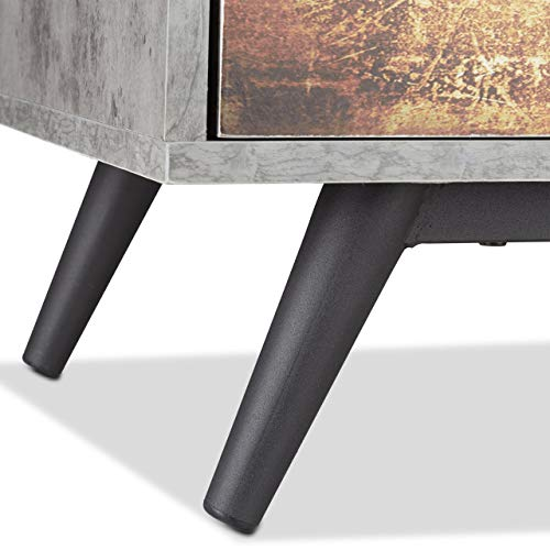 Relaxdays Cómoda de Estilo Desgastado con 3 Cajones, Madera, Gris, 40x60x59.5 cm