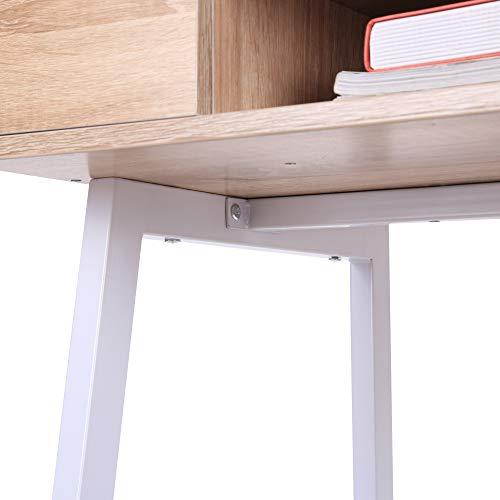 HOMCOM Mesa de Ordenador Escritorio de Computadora para Oficina Despacho Estudio con Cajón Estante Compartimientos de Almacenaje 100x55x81.5cm Madera y Metal