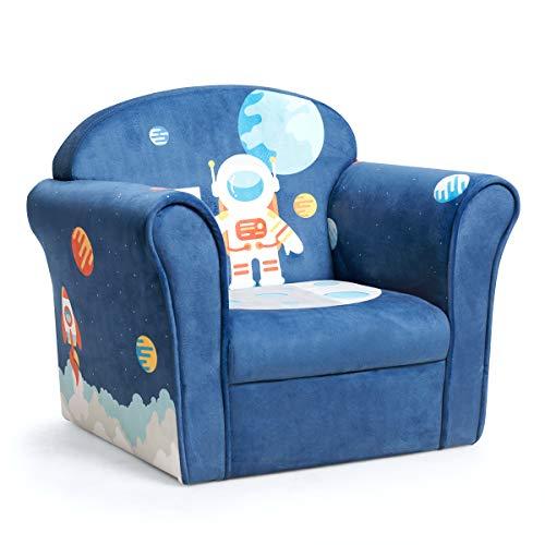 COSTWAY Sillón para Niños con Patrón Animado Sofá Individual para Infantil de Espuma para Dormitorio Cuarto de los Niños (Azul Oscuro)