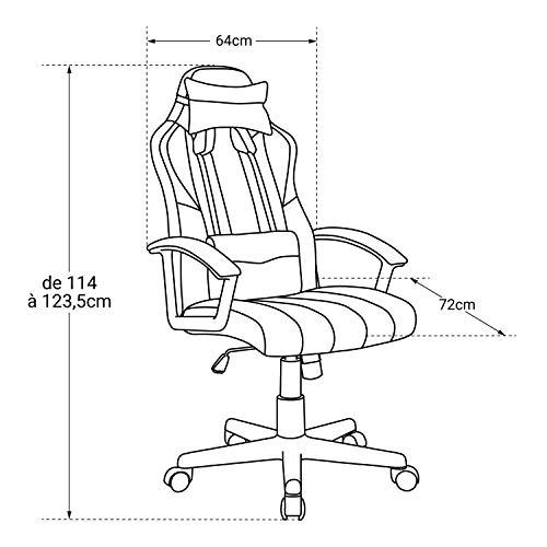 Ghost - Silla de Oficina con Ruedas Gamer - Ajustable en Altura de 114 a 123 cm - Moderna y cómoda - Azul