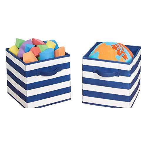 mDesign Juego de 2 cajas organizadoras para guardar juguetes – Cestas de tela a rayas para habitación infantil o dormitorio – Caja de tela con asas, ideal como juguetero – azul marino/blanco