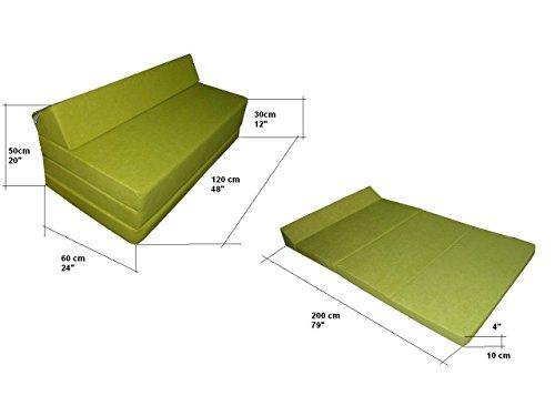 Natalia Spzoo Colchón plegable cama de invitados forma de sillón sofá de espuma 200 x 120 cm (Marrón claro 1000)