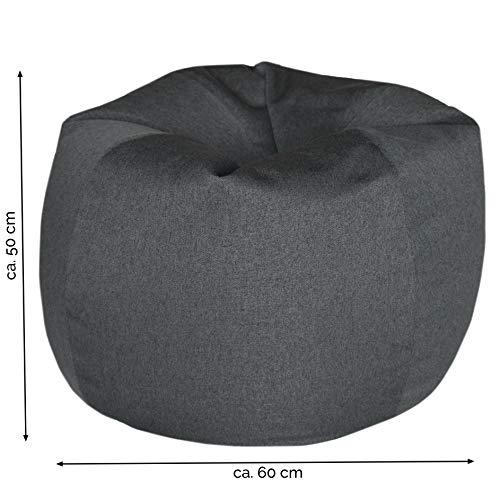 ZOLLNER Puff de Pera, Gris, 60 cm de diámetro, con Perlas de poliestireno