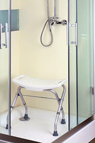 LOMOS Taburete de baño & ducha, plegable y con ajuste de altura en blanco