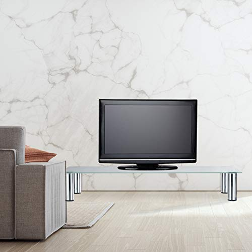 Relaxdays Mueble TV de Cristal, Mesa Televisión, Vidrio y Metal, 100 x 35 x 17 cm, Blanco y Plateado