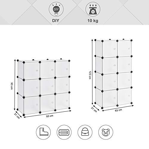 SONGMICS Estantería Modular, Armario Modular de 9 Cubos, Estantería de Plástico con Puertas, para Zapatillas, Ropa, Juguetes, Libros, Fácil de Montar, Blanco LPC116WS