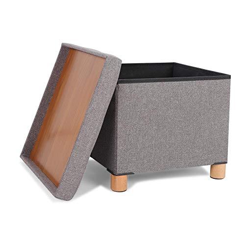 Zoternen - Taburete Plegable con reposapiés y baúl de almacenaje de Tela, Asiento Acolchado, diseño de salón o Dormitorio, Carga máxima de 300 kg
