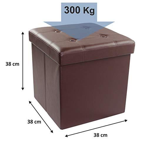 D&D Quality Puff Almacenaje, Asiento Acolchado, 38 x 38 x 38 cm, Plegable - Exterior Polipiel Suave - Carga Máxima de 300 kg (Marrón)