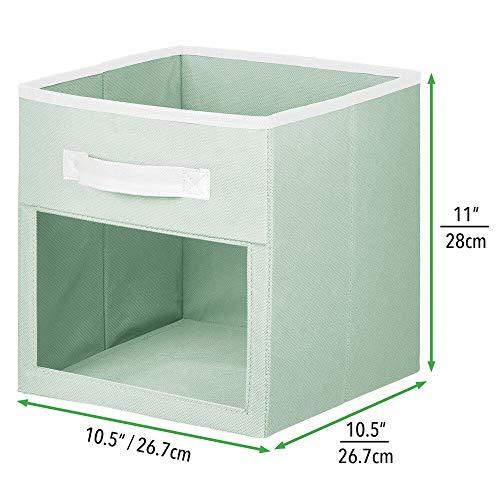 mDesign Juego de 2 Cajas organizadoras para Juguetes o Ropa – Cajas de Tela cuadradas con asa y Ventana de visualización – Cajas Plegables de Tela para Juguetes – Verde Menta y Blanco