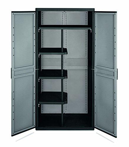 Terry Jumbo Cab 3900 Qblack Armario 2 puertas especialmente espacioso con divisor vertical y 4 estantes (3 pequeños y 1 grande que ocupa toda la anchura), Gris/Negro, 89,7x53,7x180 cm