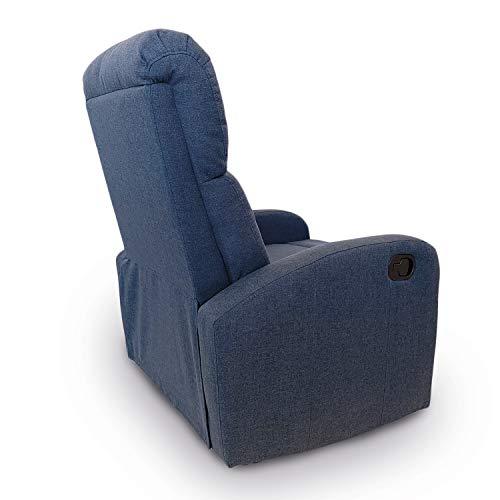 Astan Hogar AH-AR30610DN Premium Plus-Sillón Relax con Reclinación Manual, Tapizado en Tela, Azul Denim,