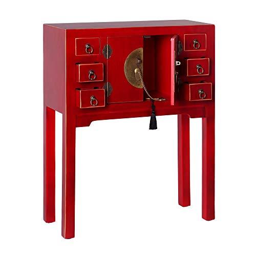 Consola de 6 cajones y 2 Puertas Oriental roja de Madera para salón Sol Naciente - LOLAhome