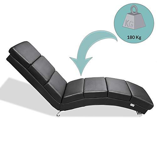 Casaria Diván Chaise Loungue 'London' Negro sillón Interior Respaldo Alto para salón hogar 186x55cm Capacidad de 180Kg
