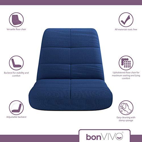 bonVIVO Easy Lounge, Silla Plegable de Suelo Acolchada Regulable con Respaldo, Cojín con Respaldo para el Hogar y la Oficina, Sillon Relax para Meditación o Gaming, Disponible en Azul y Gris