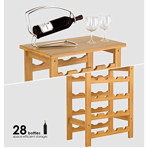 Homfa Botellero para 24 Botellas de Vino Botellero de Bambú con Portavaso de 7 Niveles 47x29x94cm