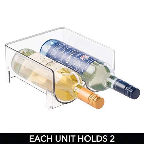 mDesign – Soporte para botellas de vino y otras bebidas – Botellero para vinos para cuatro botellas – Práctico accesorio de cocina – Fabricado con plástico – Color: transparente