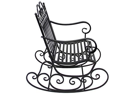 SK Style Mecedora de jardín de Metal, diseño clásico en Negro