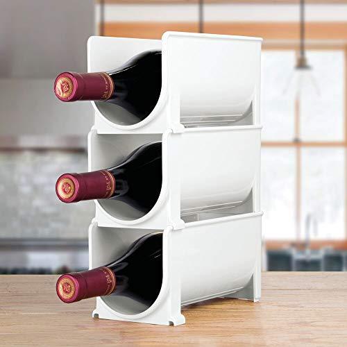 mDesign Juego de 8 botelleros apilables para la Cocina – Estante botellero de pie Hecho de plástico – Soporte para Botellas de Vino, refrescos, Agua y Otras Bebidas con 8 Compartimentos – Blanco
