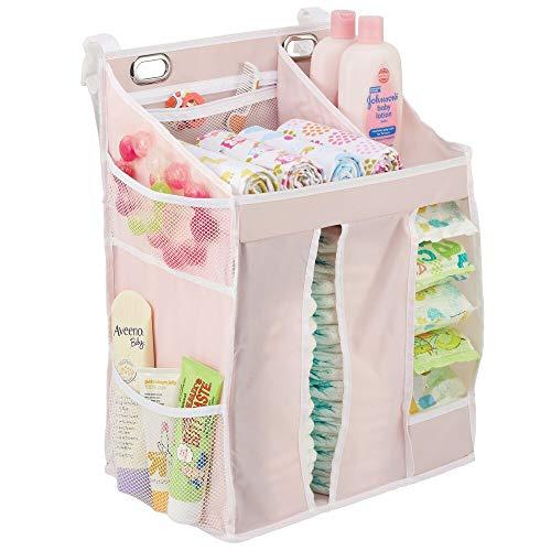 mDesign Mueble organizador infantil – Armario de tela para pañales, polvos de talco, chupetes, juguetes, etc. – Versátil organizador de pared para el cuarto infantil con compartimentos – rosa/blanco
