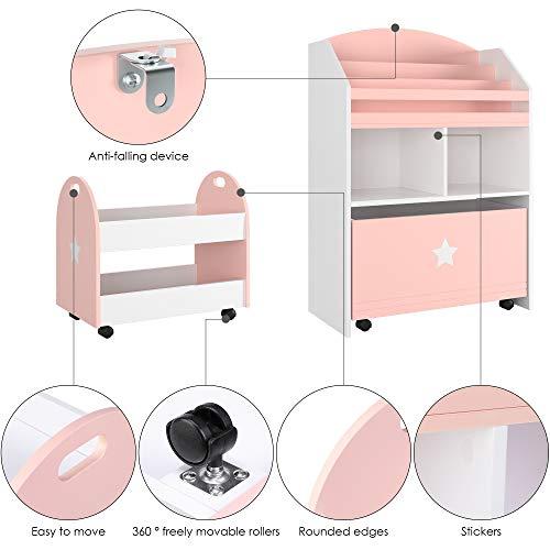 Homfa Estantería Infantil con 2 cajones Estantería Organizador con Almacenamiento y estantes reemplazados para Libros y Juguetes 60 x 30 x 86.5cm/49.5 x 30 x 44cm (Rosa)