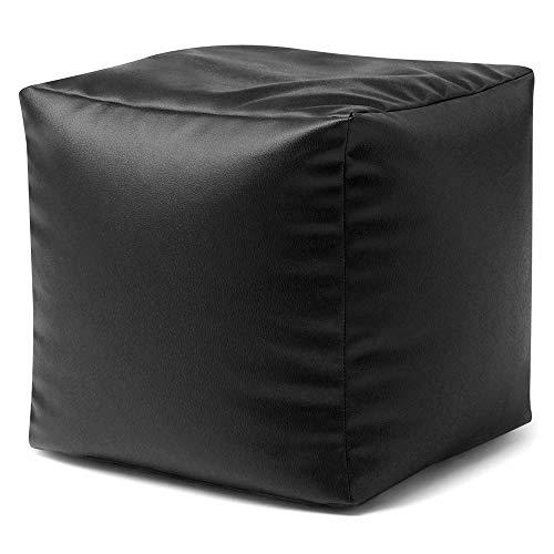 Bean Bag Bazaar Cubo Puf de Piel Sintético - Escabel - 38cm x 38cm, Puff Reposapiés