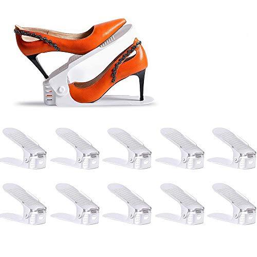 LOBKIN Set de 10pcs de Organizadores Ajustables de Zapatos con Ranuras Soportes de Calzado Apilador para Zapatos Ahorro de Espacio (Blanco)