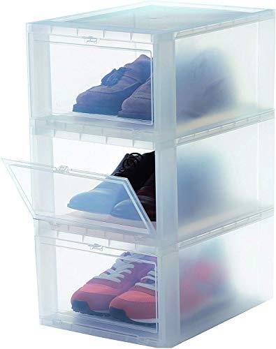 Iris Ohyama Shoes Box EUDF-M Lote de 3 Cajas de Almacenamiento para los Zapatos, 14 L, 35,5 x 28 x 18 cm