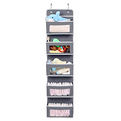 Magicfly Organizador para Puerta con 5 Compartimientos, Organizador Vertical del Tipo Bolsillo para Colgar en la Puerta, Almacenaje de Juguetes, Pañales, Toallas, etc, Gris
