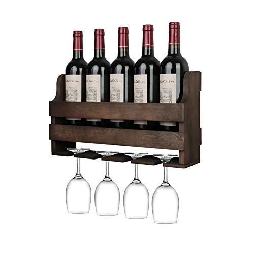 OROPY Estante de vino montado en la pared y soporte de vidrio, Estante de exhibición de almacenamiento de vino rústico de madera, para decoración de cocina, comedor, bar, hogar y cocina