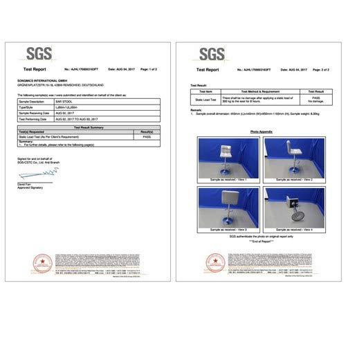 Songmics 2 x Taburetes de Bar, con Respaldo, Regulable en Altura y Giratorio Cromado de Cuero sintético Blanco LJB64W, PU, 38 x 44,5 x (95-115) cm