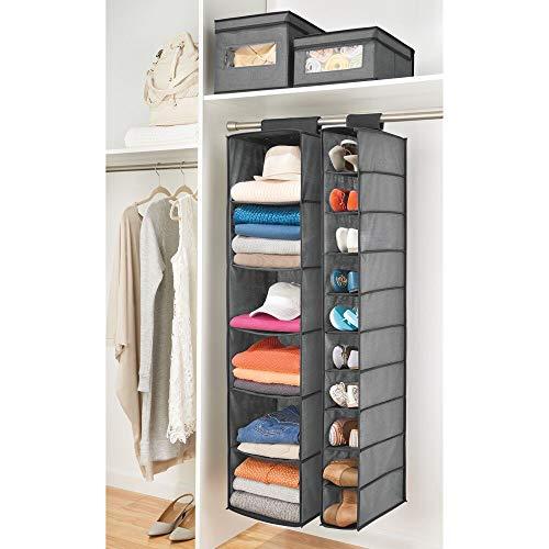 mDesign Organizador de zapatos para armario – Muebles zapateros para colgar con 10 compartimentos – Estanterías para zapatos, bolsos o carteras para ahorrar espacio – gris y negro