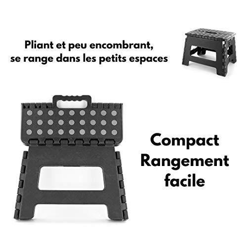 LNG - Taburete Plegable, fácil de Usar, práctico y Elevador, Color Negro, 22 x 22 x 29 cm, Carga máxima de 120 kg, Color Negro y Gris