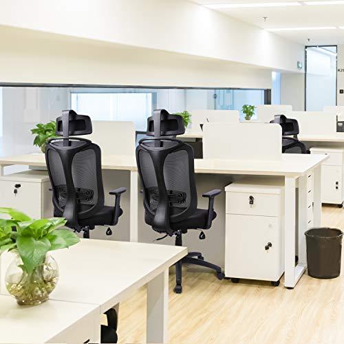 INTEY Silla de oficina, Sillas oficina Ergonómica, silla de escritorio Ajustables Apoyabrazos y soporte lumbar, transpirable y Material Fiable, Carga máx.130kg