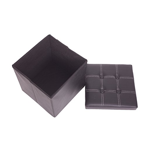 Mobili Rebecca® Arcones y Baules Puff Taburete Asiento almacenaje con Tapa Hogar Dormitorio Color Negro Polipiel 38 x 38 x 38 cm (Cod. RE4915)