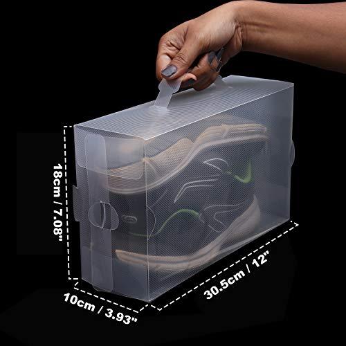 Kurtzy Cajas Guardar Zapatos (Pack 20) (18 x 30.5 x 10 cm) Plástico Corrugado Transparente Plegable Organizador Zapatos Impermeable Reutilizable - Caben Zapatos Pequeños, Medianos - Ideal para Viajes