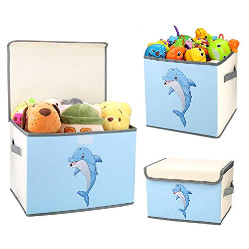 DIMJ Juego de 3 Cajas de Almacenaje Juguetes Plegable, Caja Organizadora de Juguetes con Tapa y Asa, Caja de Tela Patrón Lindo Delfín para Niños (Azul)