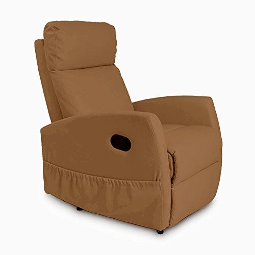 Cecotec Sillón Relax de Masaje Compact, Función calor, 5 Programas, 3 Intensidades, 8 Motores, Mando de control, Polipiel de calidad, Bolsillo portaobjetos, color Camel