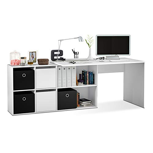 Habitdesign Mesa Escritorio, Mesa despacho Reversible, Estudio, Modelo Adapta XL, Acabado en Blanco Artik