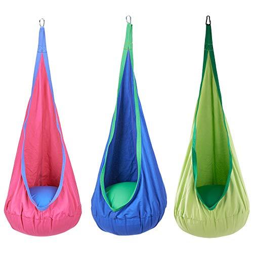 Sfeomi Hamaca Silla Colgante para Niños Columpios Infantiles Interior con Capacidad de 80kg Hanging Chair Swing Seat para Interiores y Exteriores, Hogar y Jardín (Rosa)