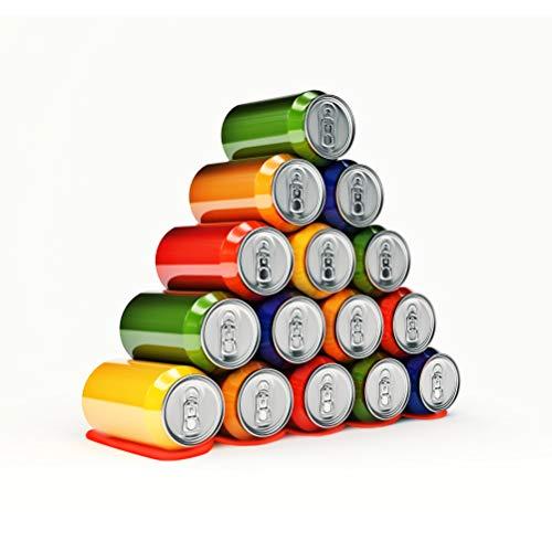 BUYGOO 2PCS Estante para botellas Refrigerador universal para latas de silicona soporte para cerveza contiene 15 botellas para apilar botellas y latas