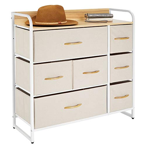 mDesign Cómoda para dormitorio con 7 cajones – Mueble con cajones ancho para el salón, la habitación o el pasillo – Cajonera de metal, MDF y tela para guardar ropa – crema y blanco