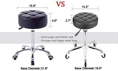 FRNIAMC Taburete de salón con ruedas, con asiento redondo más ancho y cómodo, silla giratoria de alta resistencia para salón, médico, uso doméstico, negro