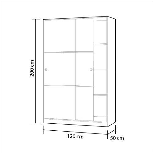 Armario 2 Puertas Correderas y Estantes, para Dormitorio o Habitacion, Modelo MAX, Acabado en Blanco Brillo, Medidas: 120 cm (Largo) x 200 cm (Alto) x 50 cm (Fondo)