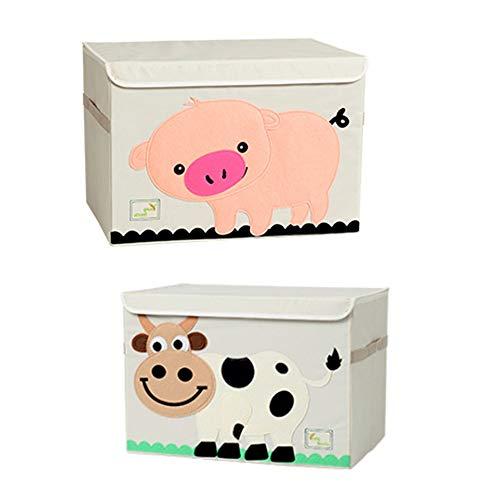 SITAKE Conjunto de 2 Caja de Almacenamiento para Niños - Caja de Juguetes y Almacenamiento - Caja y Armario Organizador para niños (Cerdo Rosa y Vaca)