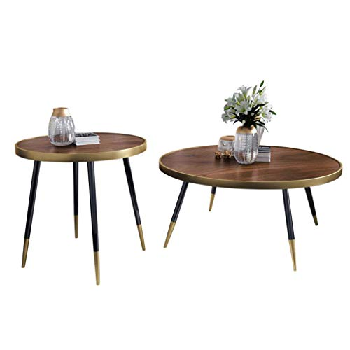 TZSXCJ Couch Moderno Tabla 2 Pieza Redonda Mesa de café de apilamiento Nesting Mesa for Espacios de Oficina, habitación de Madera Top y Patas de Metal, Creativo de Muebles X5C0J9