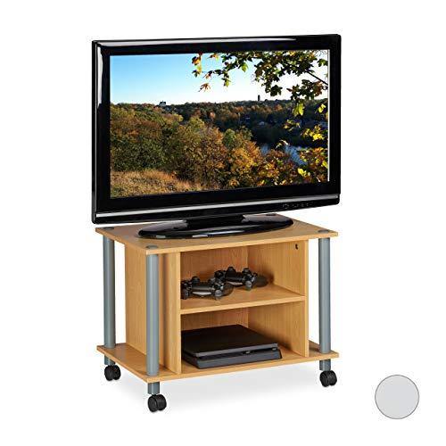 Relaxdays Mueble TV con Ruedas, Mesa televisión con 2 Compartimentos, Tablero de partículas, 45 x 60 x 40 cm, Marrón