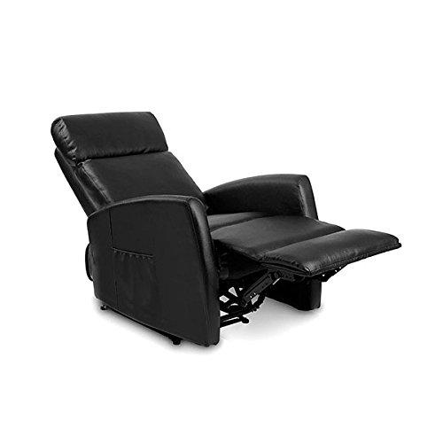Cecotec Sillón Relax de Masaje Compact Push Back Negro. Función Calor, 5 Programas, 3 Intensidades, 8 Motores, Mando de Control, Bolsillo portaobjetos, Polipiel