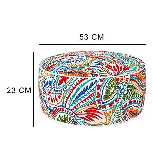 Aktive 79035 - Puff hinchable Ottoman, poliéster hilado, repele el agua, 53 x 23 cm, étnico multicolor, Patrón Surtido
